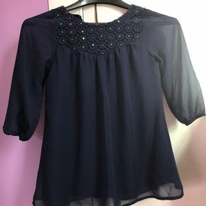 Blue flowy shirt with sequin design (sh8)